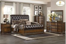 HOMELEGANCE 1847-1-9 Brompton Queen Sleigh Bed, Dresser, Mirror, Night Stand & Chest Group
