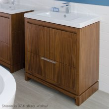 "Free-standing under-counter vanity with finger pulls across top doors and polished chrome pull across bottom drawer, 31"" W, 17 5/8"" D, 33 1/4"" H"