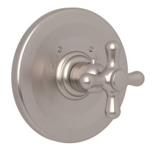 Satin Nickel Verona Thermostatic Trim Plate Without Volume Control with Verona Series Only Cross Handle