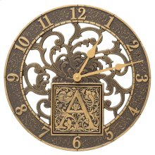 """Silhouette Monogram 12"""" Personalized Indoor Outdoor Wall Clock - French Bronze"""