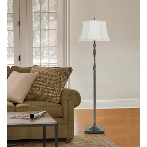 150W 3 Way Madison Metal Club Floor Lamp With Pull Chain Switch And SofTBack Fabric Shade