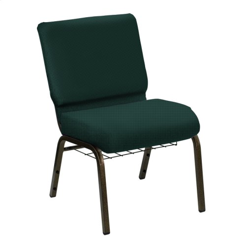 Wellington Emerald Upholstered Church Chair with Book Basket - Gold Vein Frame