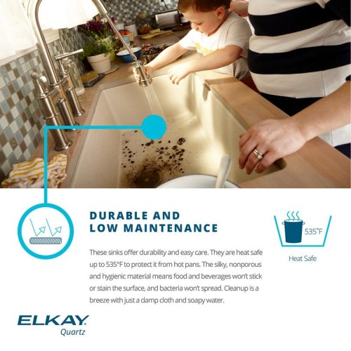 "Elkay Quartz Classic 33"" x 22"" x 9-1/2"", Equal Double Bowl Drop-in Sink, Greystone"