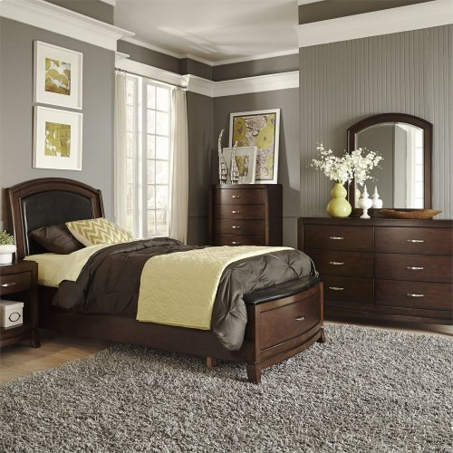 Twin Leather Storage Bed, Dresser & Mirror