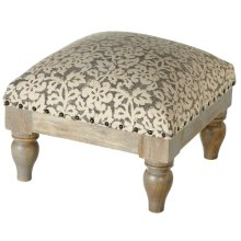 Grey Floral Block Print Stool (Each One Will Vary)