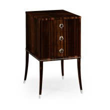 Macassar Ebony Bedside Chest with White Brass Detail