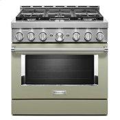 KitchenAid® 36'' Smart Commercial-Style Gas Range with 6 Burners - Avocado Cream