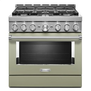 KitchenAidKitchenAid® 36'' Smart Commercial-Style Gas Range with 6 Burners - Avocado Cream