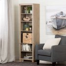 Narrow 6-Shelf Bookcase with Rattan Basket - Rustic Oak and Beige Product Image