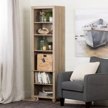 Narrow 6-Shelf Bookcase with Rattan Basket - Rustic Oak and Beige