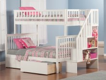 Woodland Staircase Bunk Bed Twin over Full with Urban Bed Drawers in White