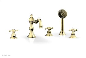 HENRI Deck Tub Set with Hand Shower with Cross Handles 161-48 - Polished Brass