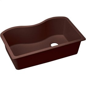 "Elkay Quartz Classic 33"" x 20"" x 9-1/2"", Single Bowl Undermount Sink, Pecan"