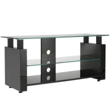 Black Audio Video Stand Black lacquered finish - fits AV components and TVs up to 52""