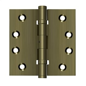 "4""x 4"" Square Hinges, Ball Bearings - Antique Brass"