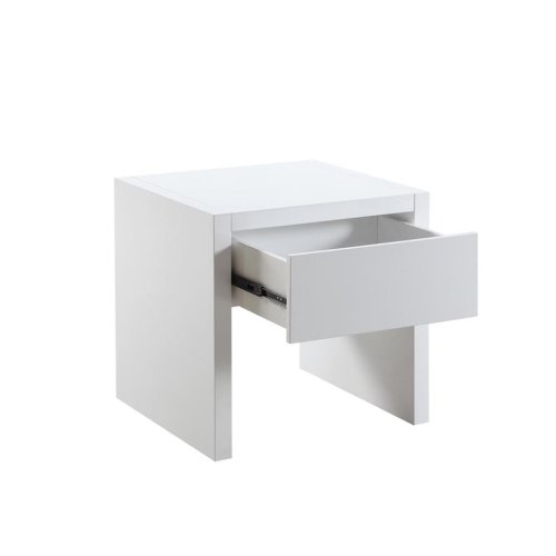 Contemporary White End Table