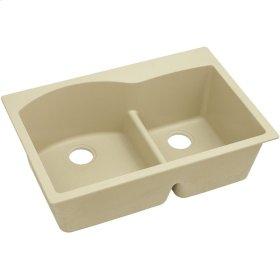 "Elkay Quartz Classic 33"" x 22"" x 10"", Offset 60/40 Double Bowl Top Mount Sink with Aqua Divide, Sand"