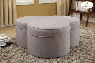Storage Ottoman with Casters, Grey Linen