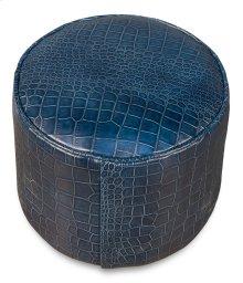 Round Footrest, Emb Croc Navy Blue Lthr