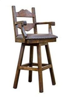 "30"" Tuscan Swivel Arm Barstool W/Leather Seat"