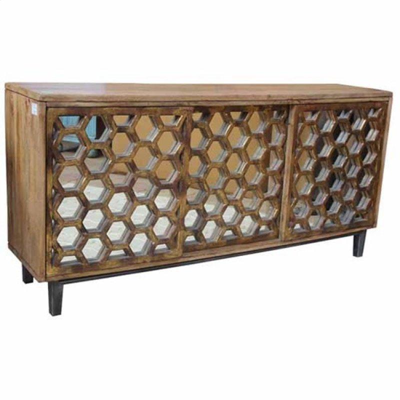 Bengal Manor Mango Wood 3 Sliding Door Cabinet W Honeycomb Mirror