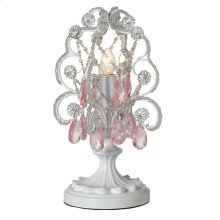 Mini White Chandelier with Pink Dangles Accent Lamp. 25W Max.