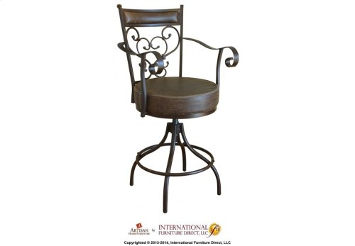 """24-30"""" Adjustable Height barstool w/Arms & Faux Leather seat"""