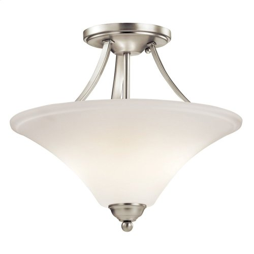 Keiran 2 Light Semi Flush with LED Bulbs Brushed Nickel