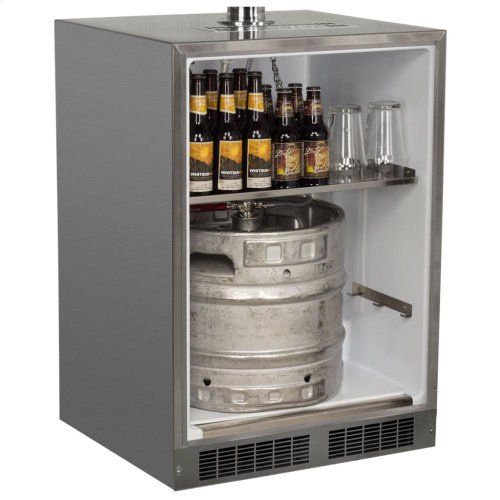 "24"" Outdoor Single Tap Mobile Beer Dispenser - Marvel Refrigeration - Solid Stainless Steel Door With Lock - Solid Stainless Steel Door With Lock, Right Hinge"