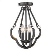 Smithsonian Saxon Semi Flush Convertible in Aged Bronze