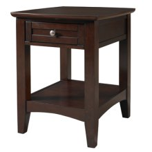 Espresso Chairside Table with One Drawer