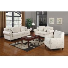 Norah Traditional White Three-piece Living Room Set
