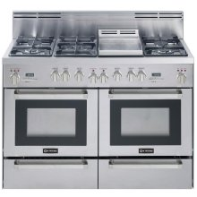 """Stainless Steel 48"""" Self Clean Dual Fuel Convection Range with Double Ovens Warming Drawers"""