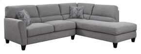 2 PC Sect-lsf Loveseat-rsf Chaise-lt Gray#k2080-1 W/2 Accent Pillows #kh2708-2