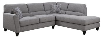 2 PC Sect-lsf Loveseat-rsf Chaise-lt Gray#k2080-1 W/2 Accent Pillows #kh2708-2 Product Image