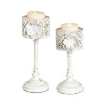 White and Gold Rose Pillar Holder set/2.