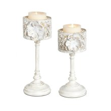 White and Gold Rose Pillar Holder set/2.