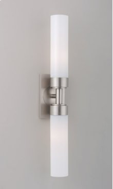 FLUORESCENT CIRC DUO SCONCE - BRUSHED NICKEL