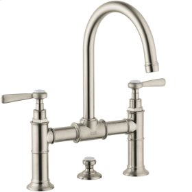 Brushed Nickel 2-handle basin mixer 220 with lever handles and pop-up waste set