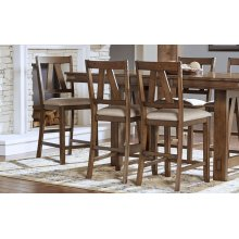 SLATBACK UPHOLSTERED STOOL