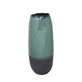 """Ceramic Vase 16"""", Green / Black"""