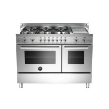 48 6-Burner + Griddle, Gas Double Oven Stainless