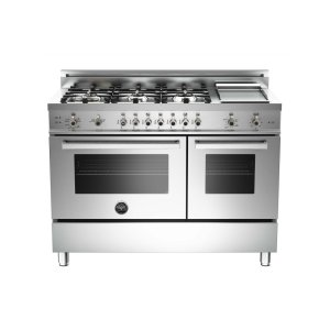 48 6-Burner + Griddle, Gas Double Oven Stainless - STAINLESS