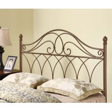 Traditional Rich Brown Metal Headboard With Weave Design