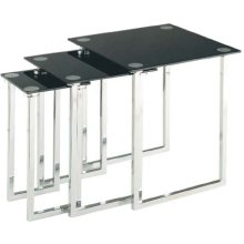 Nesting Table Set of 3pcs, Chrome/tempered Black Glass Top
