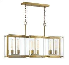 Prescott 6 Light Warm Brass Linear Chandelier