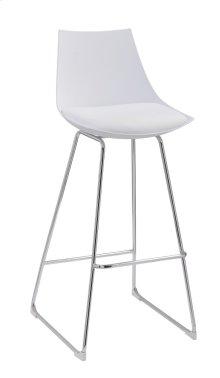 "Emerald Home Neo 30"" Barstool White Seat High Back-chrome Base D2501wht"