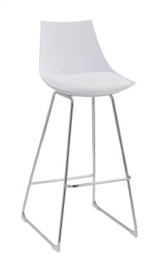 "Emerald Home Neo 30"" Barstool White Seat High Back-chrome Base D2501wht"