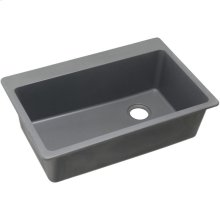 "Elkay Quartz Classic 33"" x 22"" x 9-1/2"", Single Bowl Drop-in Sink, Greystone"