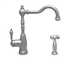 Englishhaus single lever faucet with a traditional swivel spout, lever handles, and a solid brass side spray.